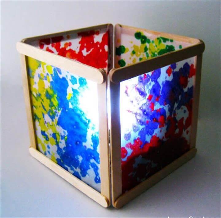 Popsicle Stick Wax Paper Lantern
