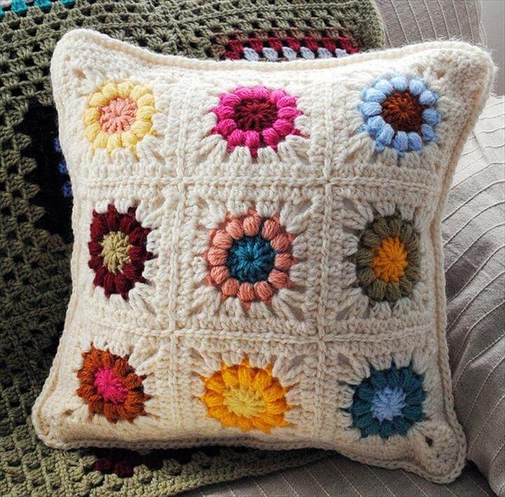 crochet colorful pillow