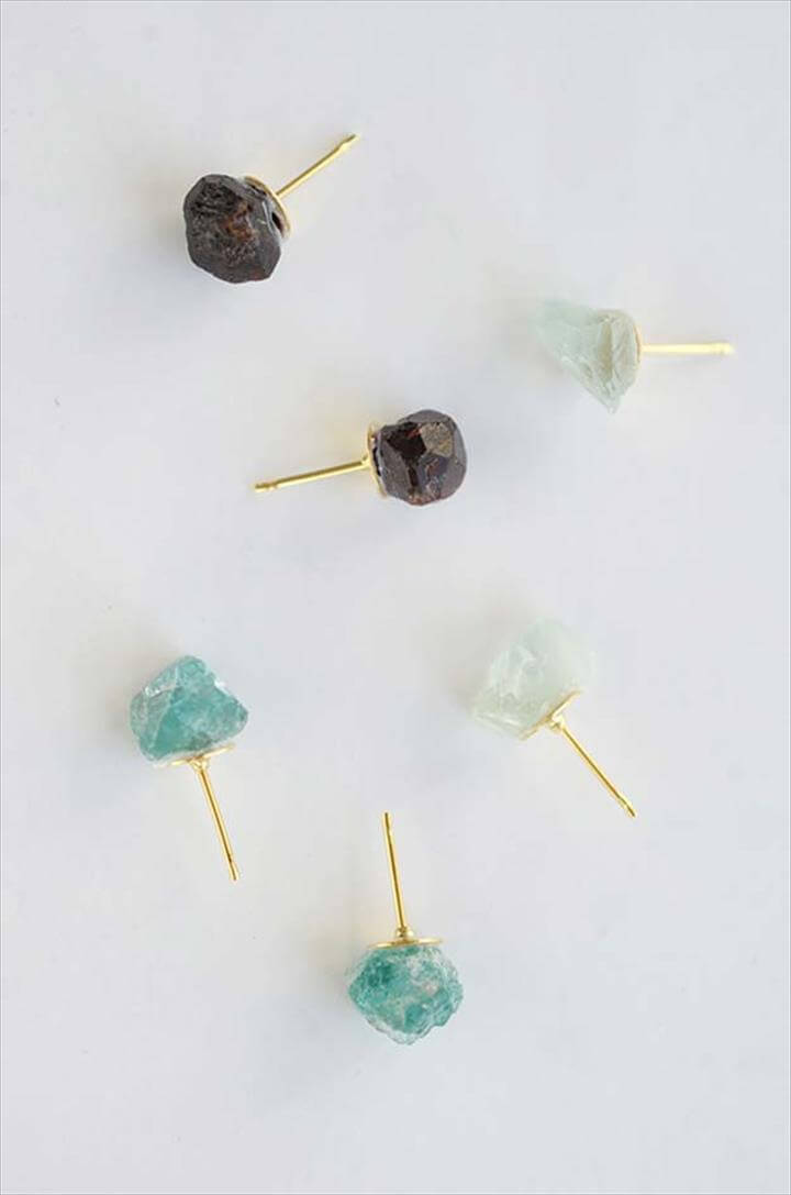 DIY Earrings and Homemade Jewelry Projects - Raw Stone Earrings