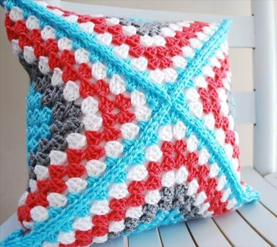 Granny Square Pillow - B.hooked Crochet Retro Square Pattern