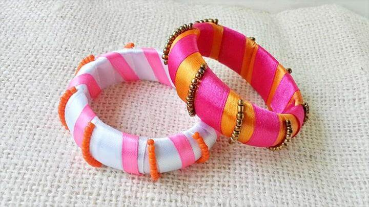 Ribbon And Bead Wrapped Bangles