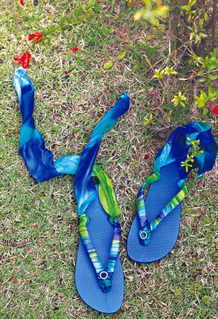 blue ribbon flip flops