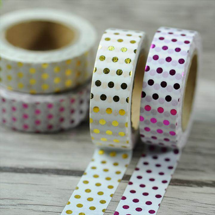 Small Dots Shiny Gold Blocking Washi Paper Masking Tape Party Decorative Stickers Diary Deco Scrapbooking Sticker