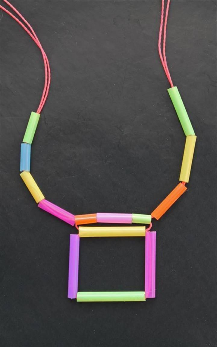square diy -geometric straw neon necklace ...