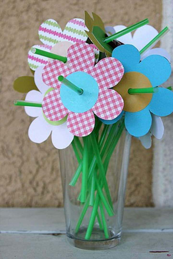 Spring Flowers Made with Straws and Paper Flowers
