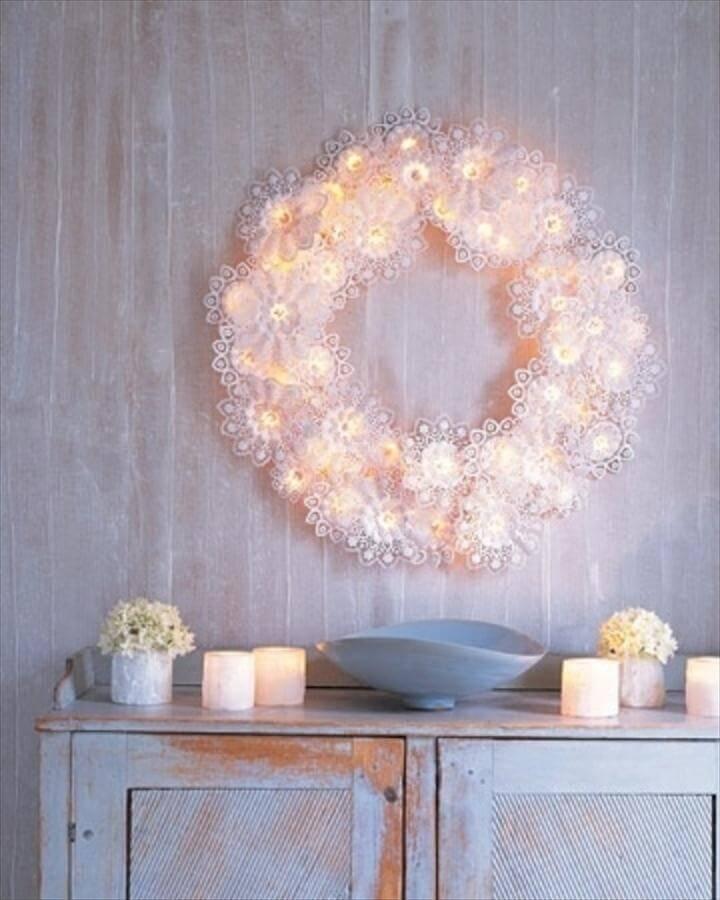 Paper Doily Wreath Lights