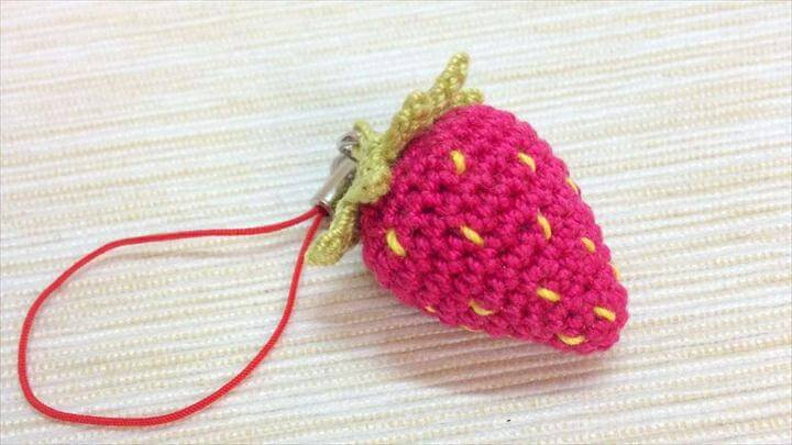 Sweet Crocheted Strawberry Keychain - DIY Crafts Tutorial