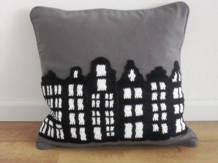 Crochet pillow pattern Amsterdam, unique cushion crochet pattern, modern and trendy design pillow, PDF tutorial US terms
