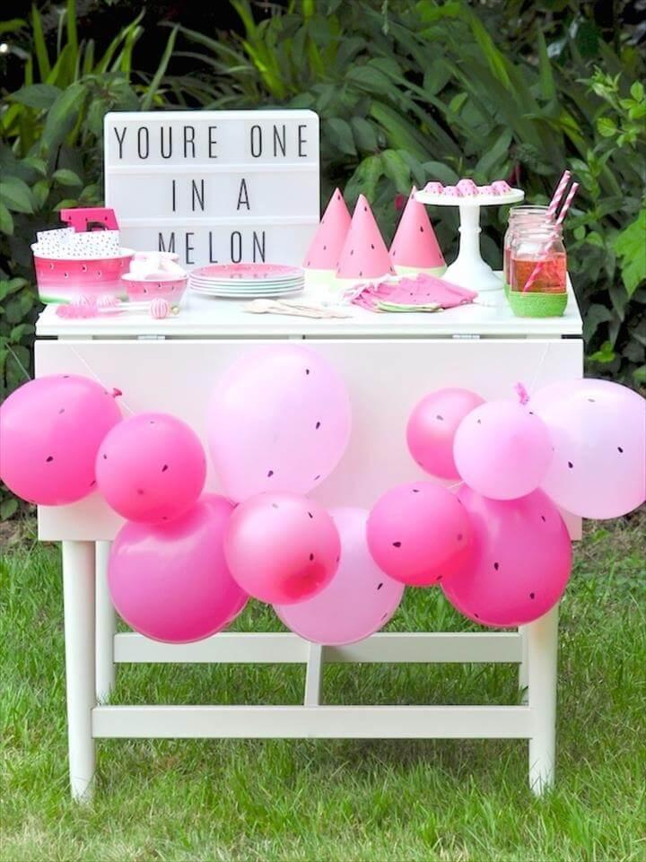 Watermelon themed DIY birthday party dessert
