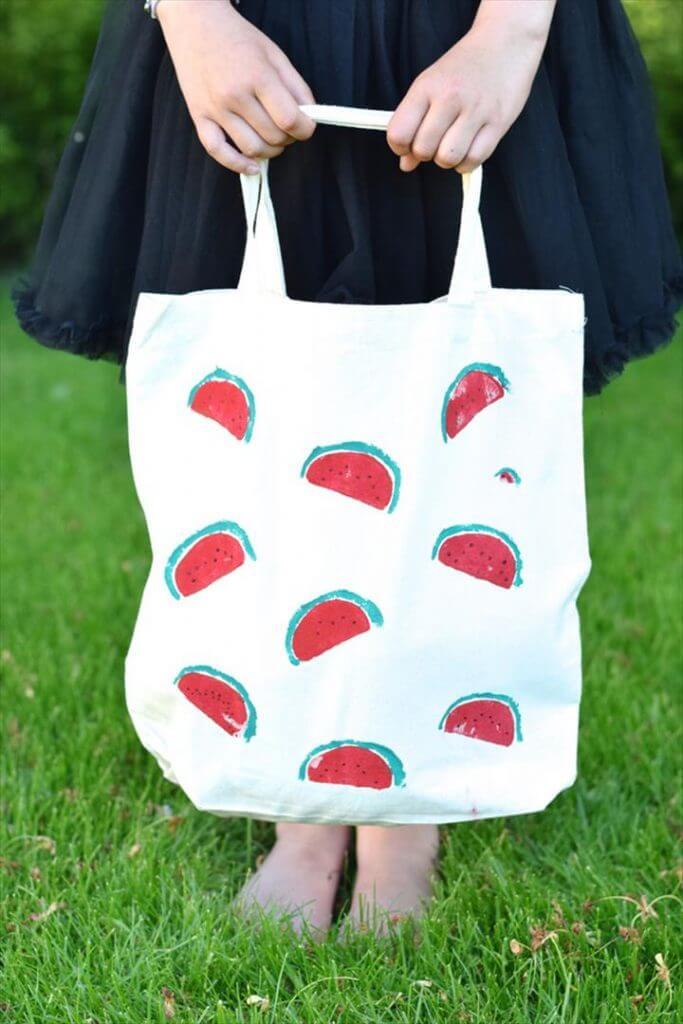 Watermelon Hand Stamp Tote Bag Pattern DIY
