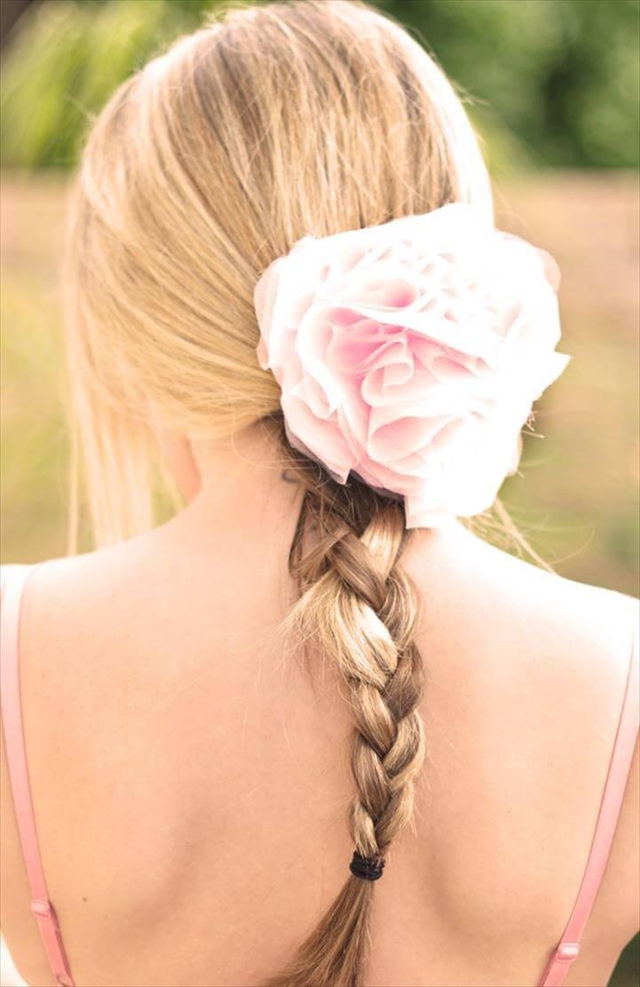 diy wedding hair flower blush pink romantic .