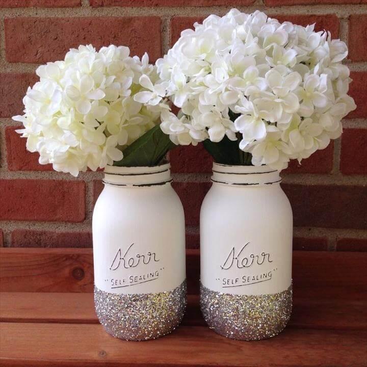 Glitter Mason jar, christmas mason jar, wedding mason jar, winter wedding, winter decor, silver glitter, christmas decor, christmas wedding