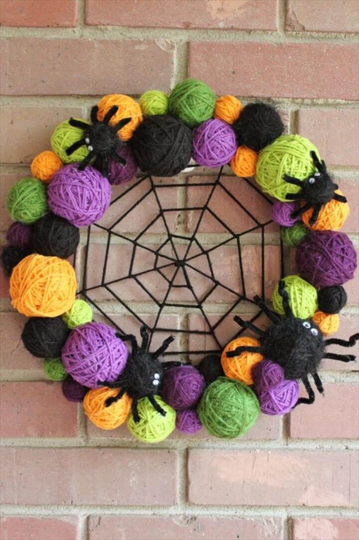 Halloween Wreath Yarn Ball Wreath 14 inches in by whimsysworkshop · Diy WreathWreath IdeasPom ...