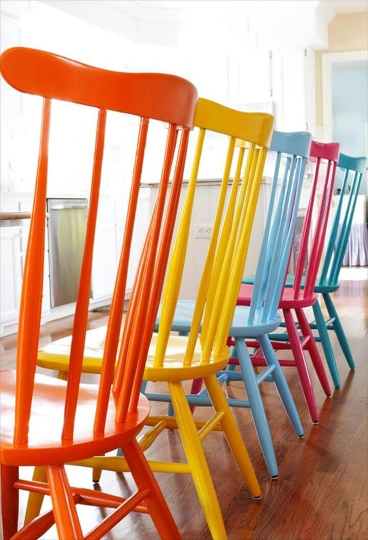 diy paint colorful chairs