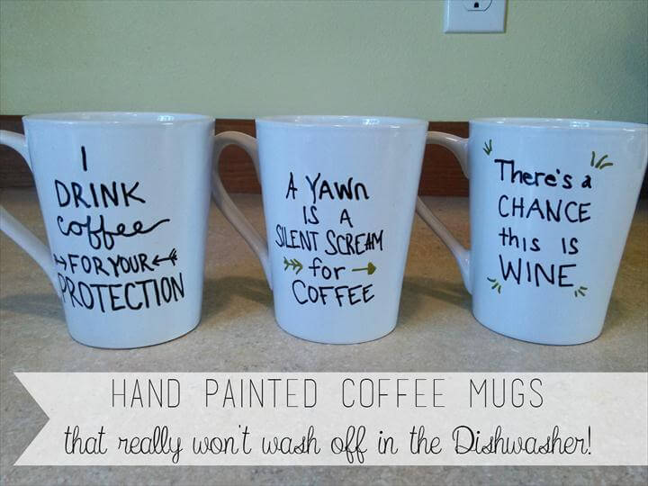 three coffee mugs, Hand painted quote mugs