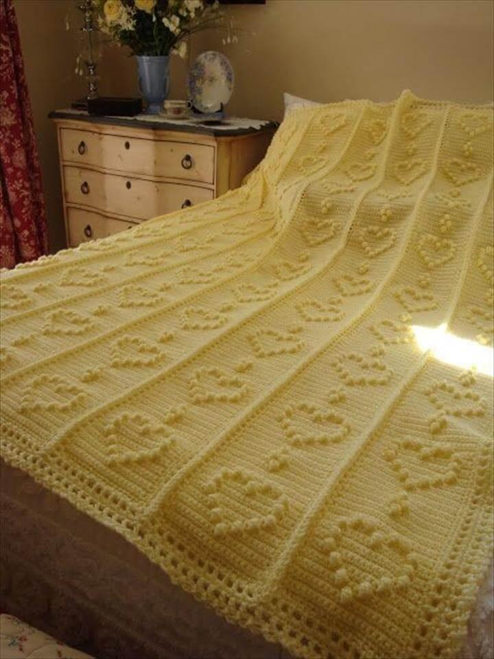 Free Knitted Crochet Bobble Heart Blanket Pattern - Night Table, Bedding Set