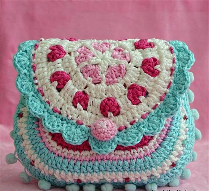 Hearts purse - crochet pattern, purs