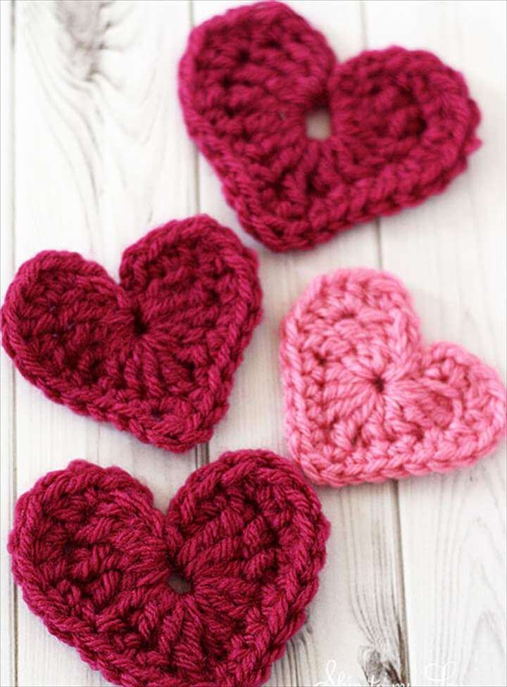 crochet heart appliqué with DIY instructions.