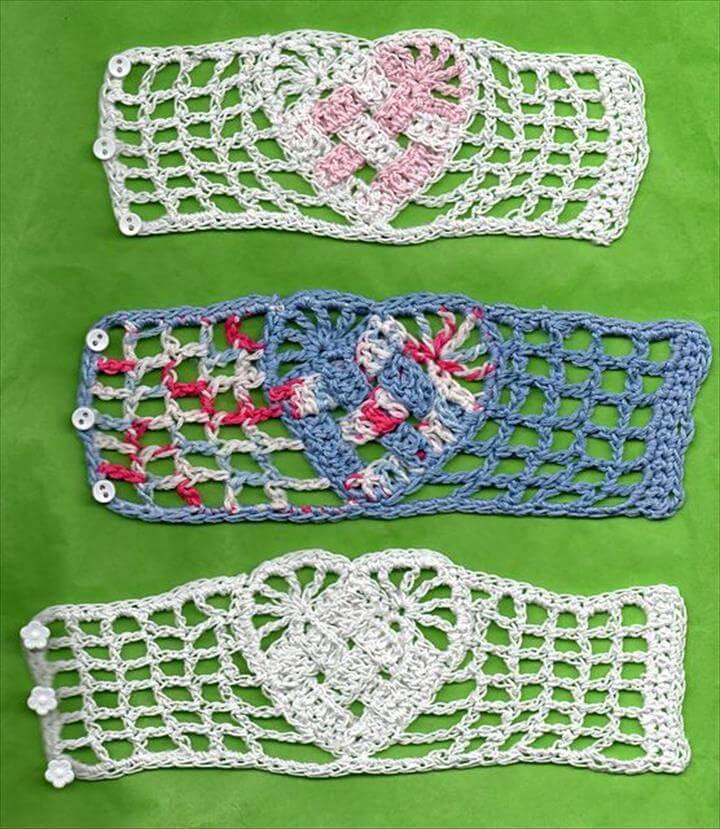 Crochet Heart Bracelet