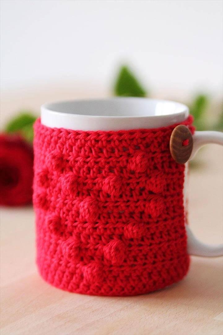 Crochet Heart Mug Cozy Tutorial