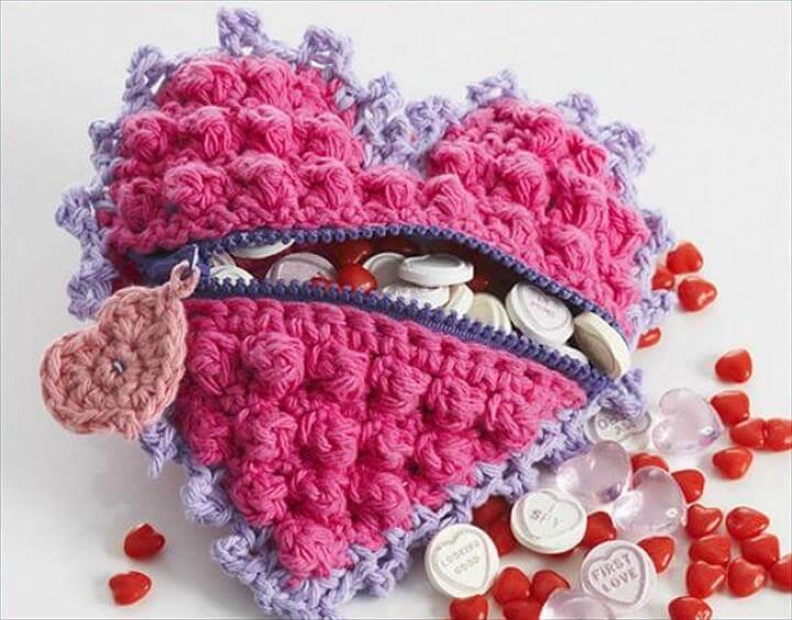 Crochet Heart Shaped Candy Bag Free Pattern- Crochet Heart Free Patterns