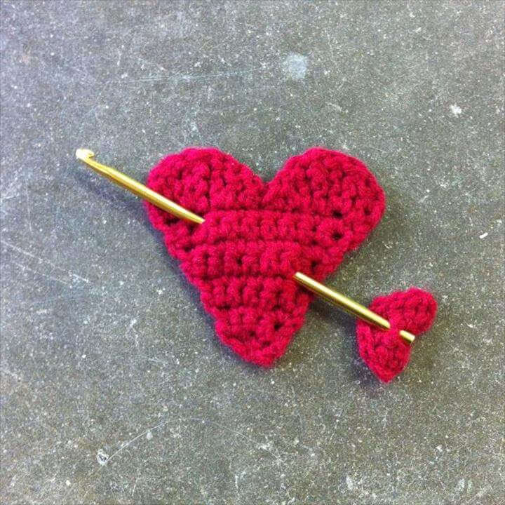 Valentine Crochet Heart with Crochet Hook Arrow