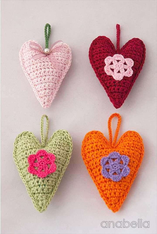 Crochet hearts, free pattern