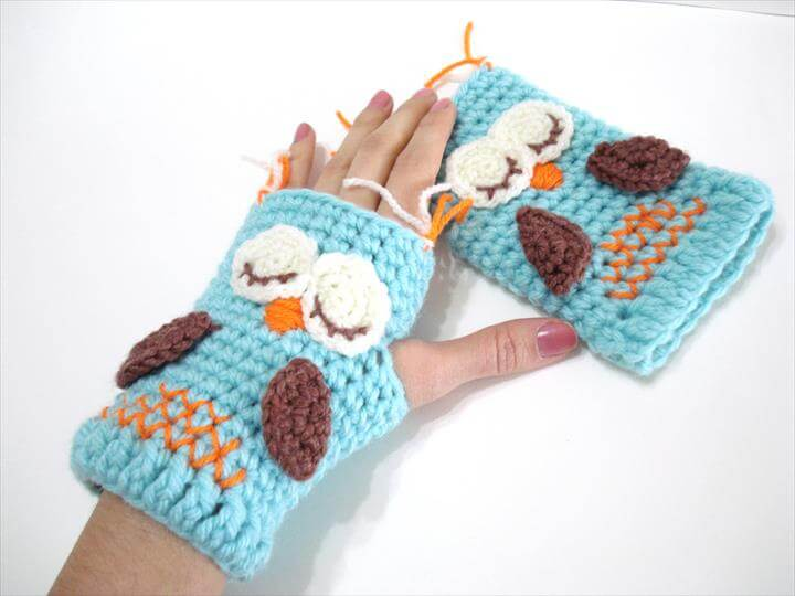 Crochet Pattern, Gloves Pattern, Owl Gloves Pattern, Tutorial, Crochet Tutorial, Owl Gloves,