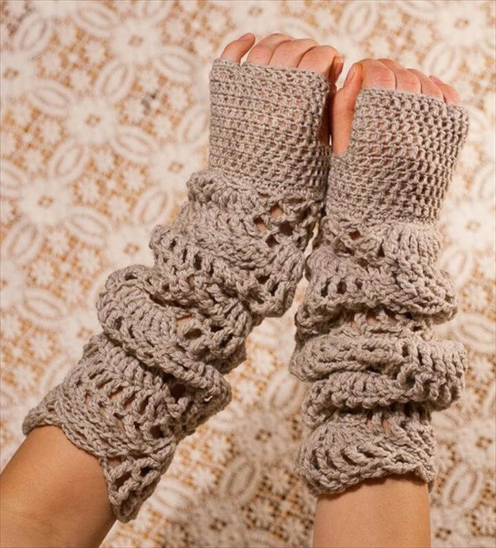 CROCHET PATTERN instant download - Sand Light Gloves - fingerless beautiful lace gorgeaous pretty beige brown hand warmers tutorial PDF