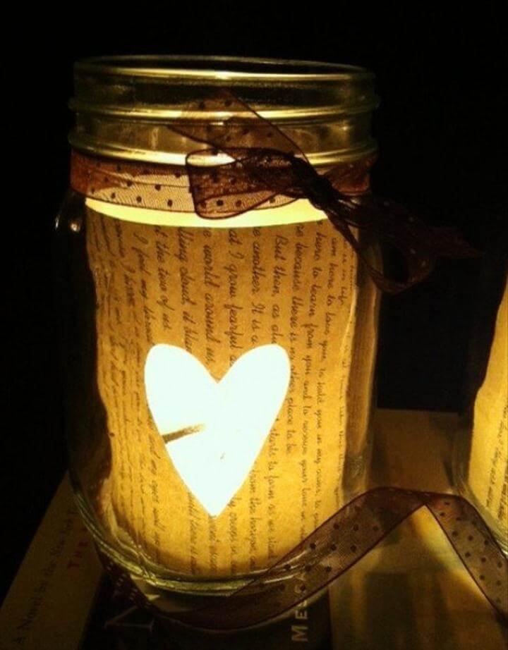 DIY Book Page Mason Jar Candle Holder |