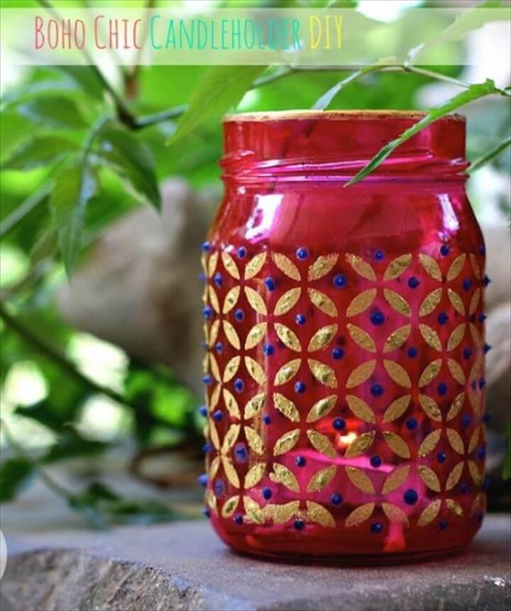 Mason Jar Ideas for Summer - Easy Boho Chic Mason Jar Candle Holders - Mason Jar
