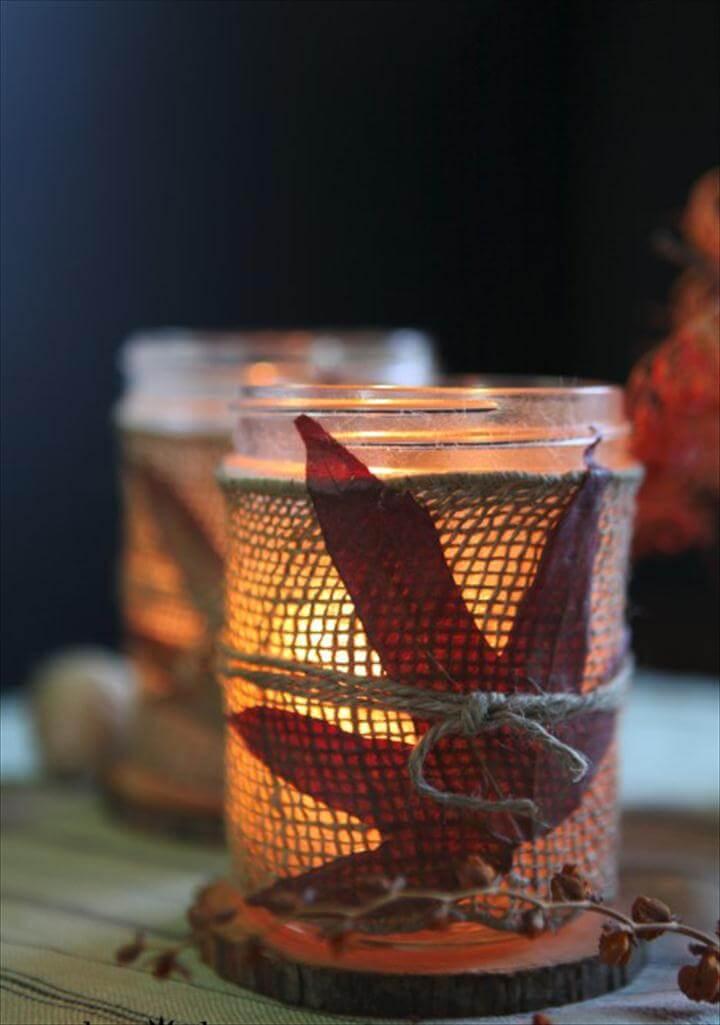 DIY burlap leaf mason jar candles