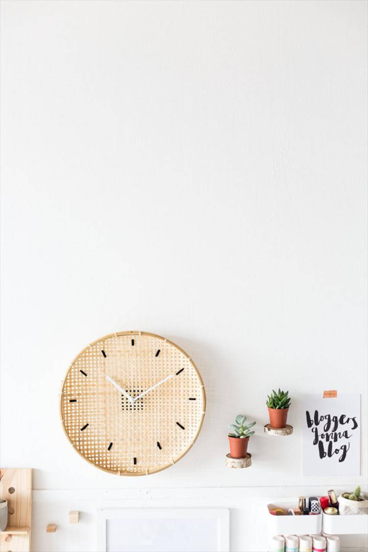 DIY Embroidered Basket Clock