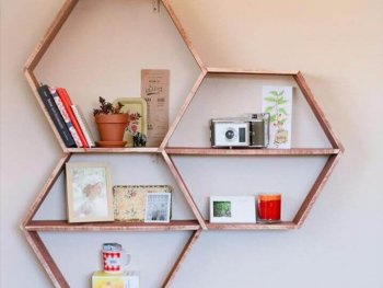 DIY Shelves and Do It Yourself Shelving Ideas - DIY Honeycomb Shelves