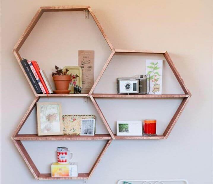 DIY Shelves and Do It Yourself Shelving Ideas - DIY Honeycomb Shelves
