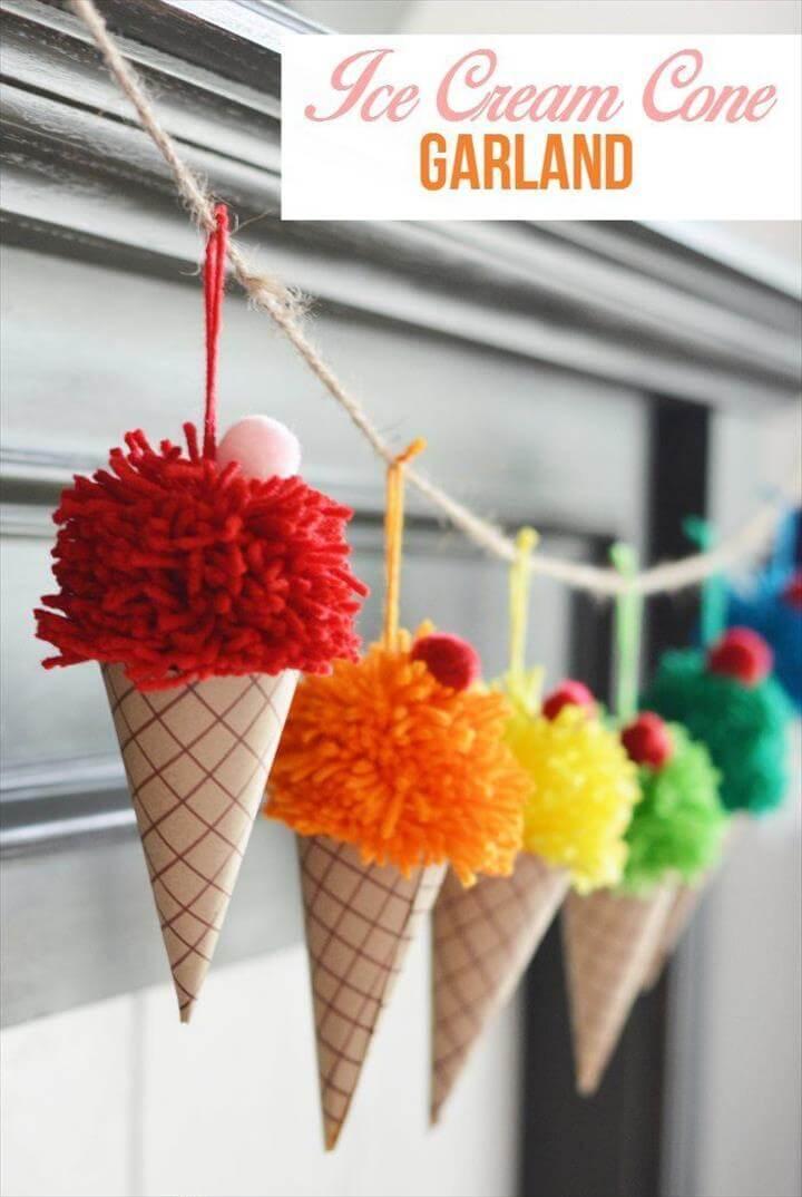 Ice Cream Cone Garland, pom pom ice cream cone