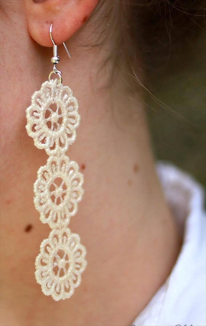 diy earrings, handmade earrings, lace earrings