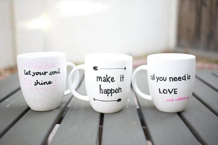 DIY Quote Stenciled Sharpie Mugs