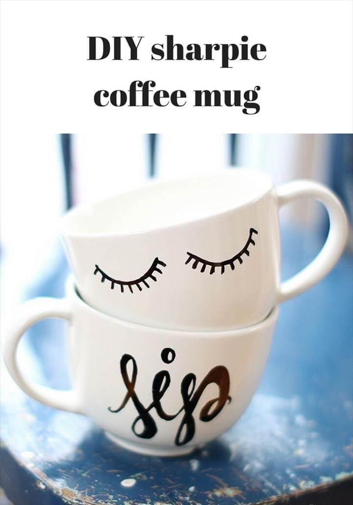 diy coffee mugs, diy sharpie coffee mug