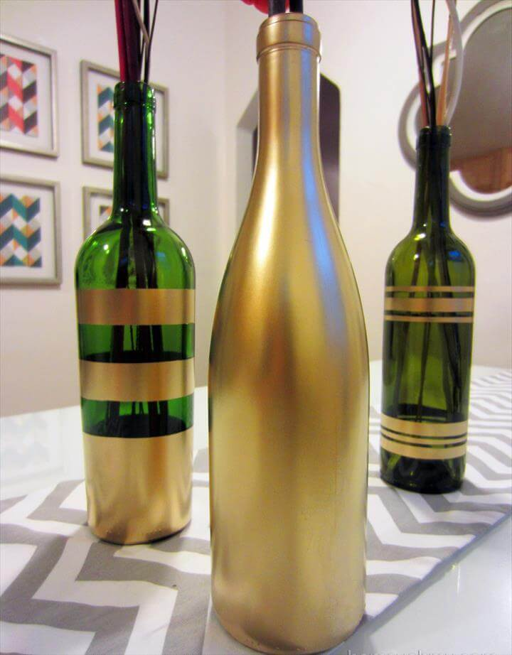 DIY Spray Painted Wine Bottles for Fall