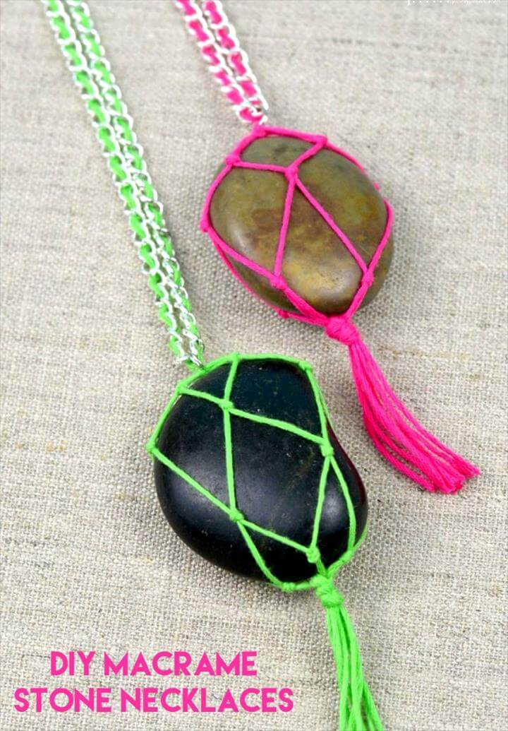Macrame DIY Projects DIY Stone Necklace Tutorial