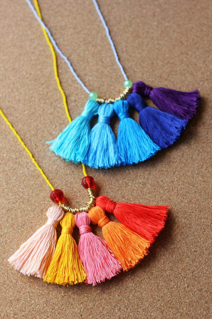 ombre tassel necklace, colorful necklace