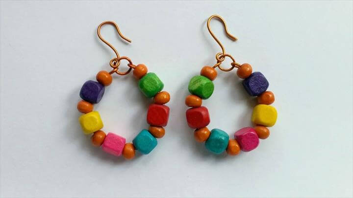 Colorful Earrings, Cool Wire and Wooden Bead Earrings - DIY Style