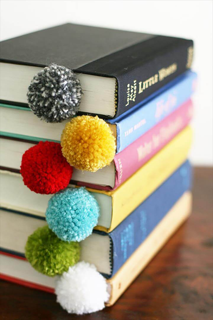 Cool DIY Ideas for Fun and Easy Crafts - DIY Wine Cork Crafts - Colorful Handmade, Yarn Ball Bookmarks