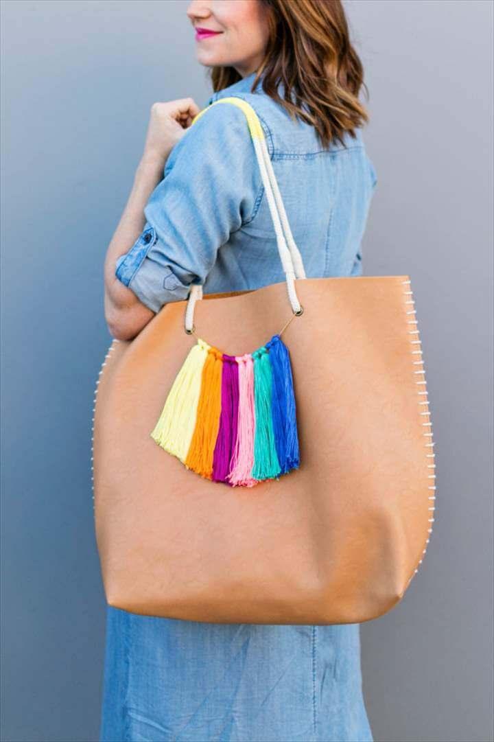 super simple DIY tassel tote bag