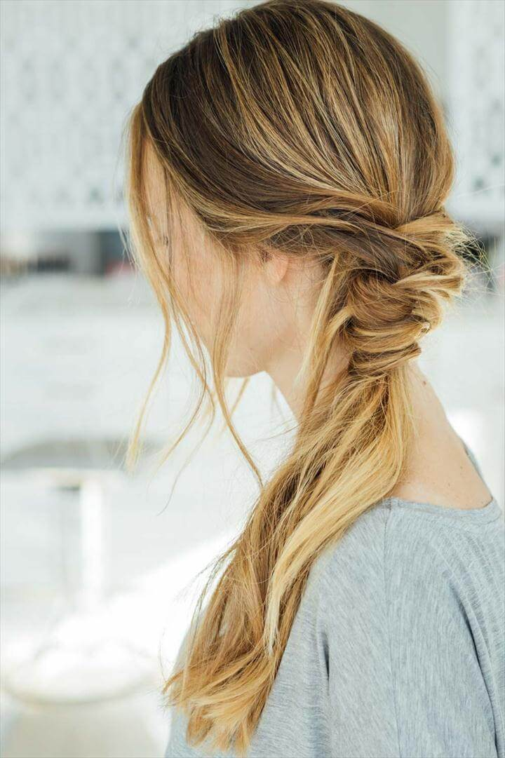 Messy Braid Wrap Ponytail