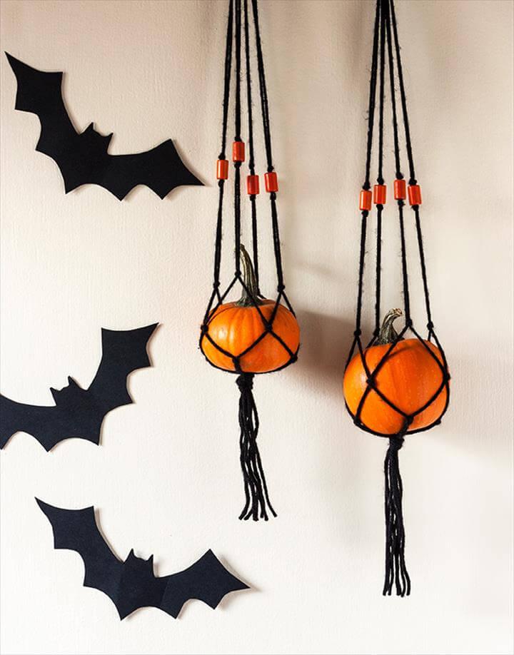 Mini Pumpkin Macrame Hanger