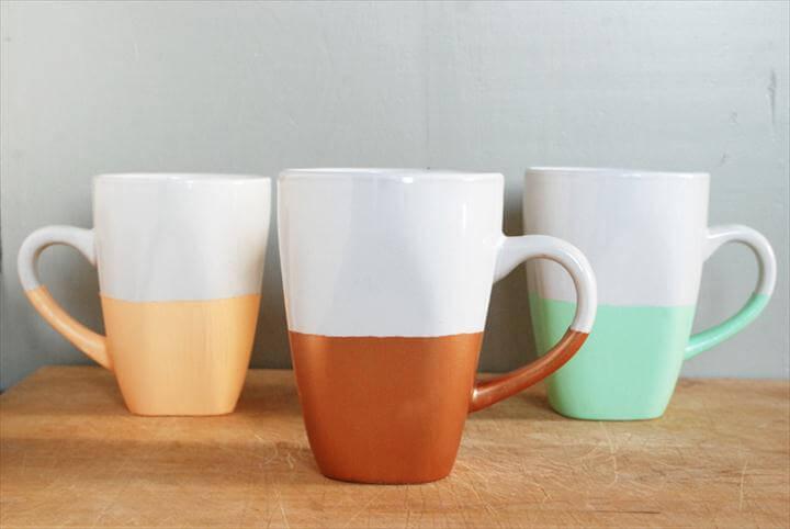 Paint Dipped Mugs, Painted mugs