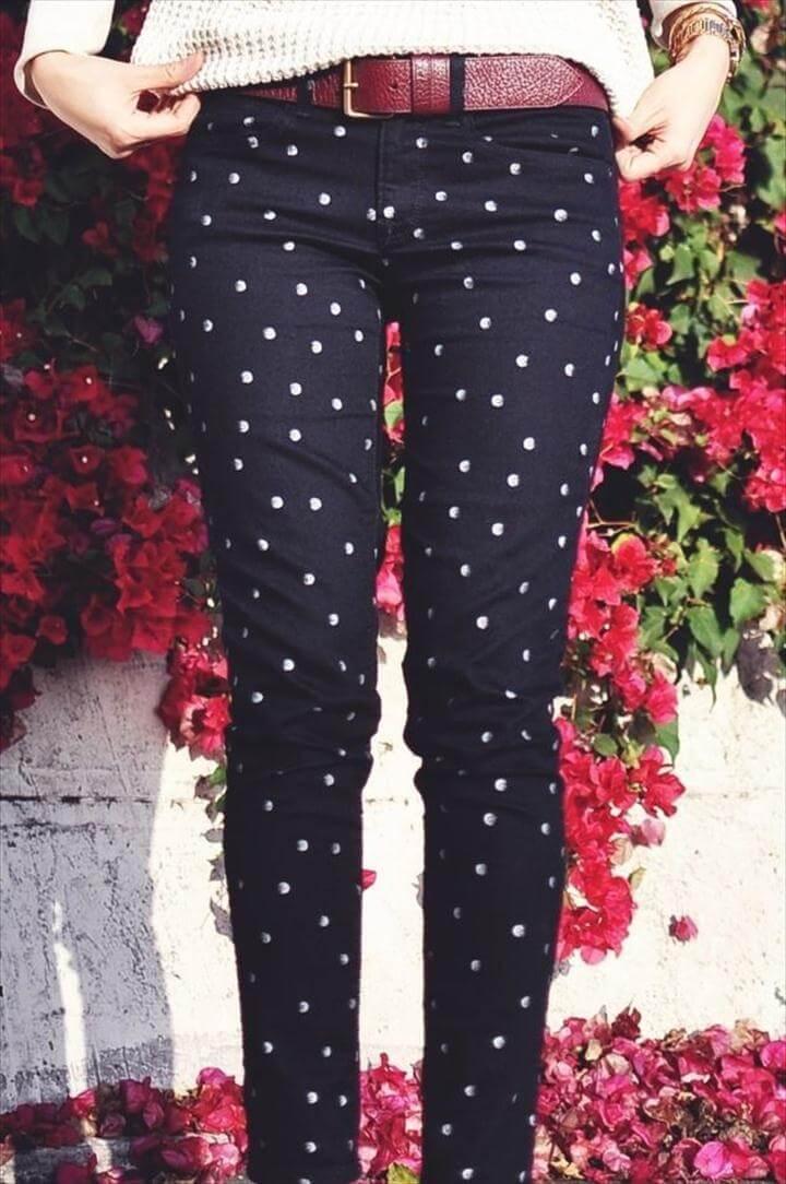 diy polka dot jeans, Polka Dots Skinny Jeans