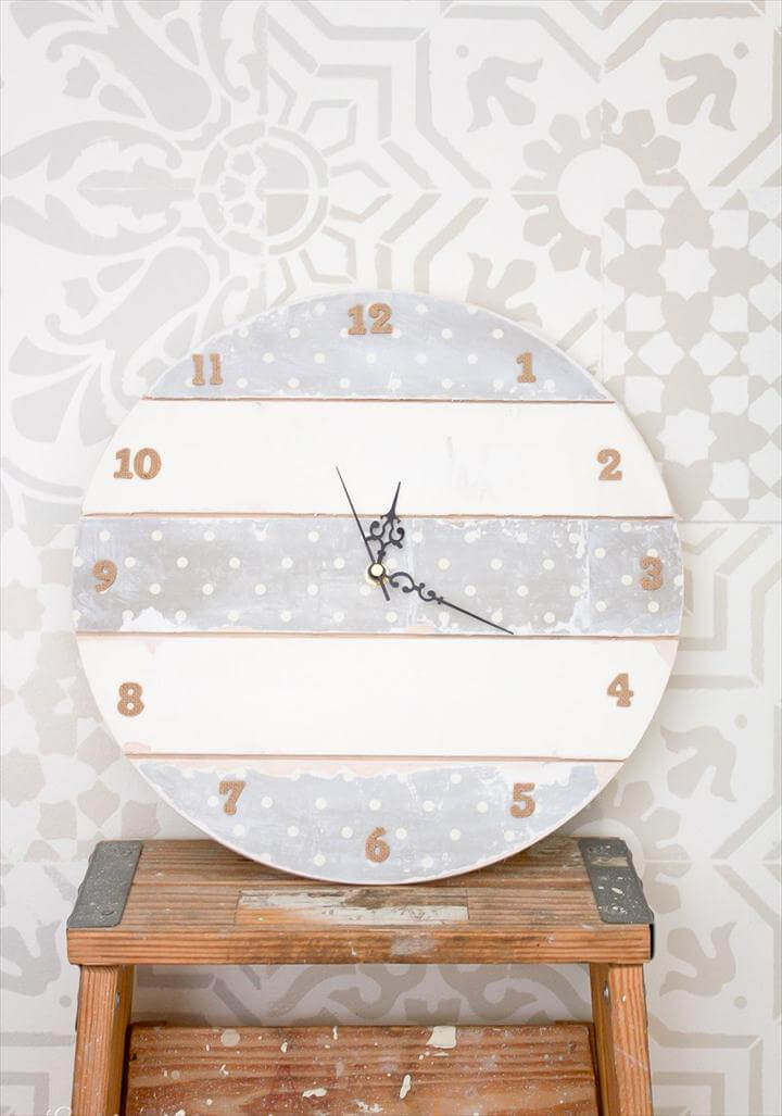white pallet wall clock